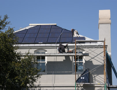 Installation of solar panels on the guest house.
