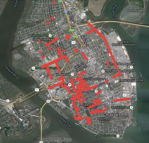 Charleston Flood-Prone Street Map